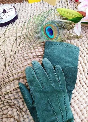 Замшеві  зелені рукавиці на теплій підкладці🧤/ замшевые перчатки