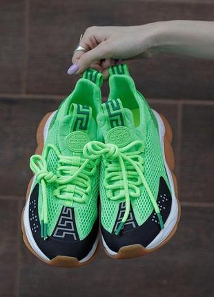 Шикарные женские кроссовки версаче в зеленом цвете (36-40)😍