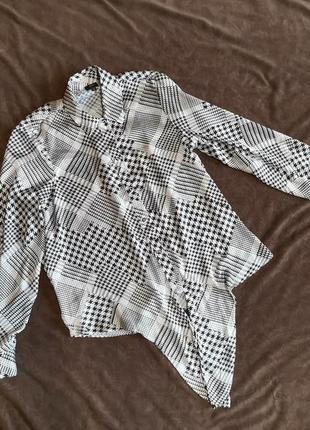Блузка черно-белая, гусиная лапка, рубашка черно- белая