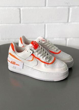 Nike air force shadow шикарные женские кроссовки найк белого цвета кожа (36-40)😍
