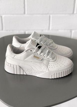 Puma cali white кожаные женские кроссовки пума белого цвета (36-40)😍