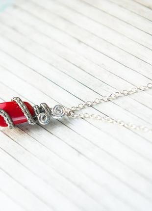 Кулон корал оплетёный wire wrap сереб цепочк фурнит красн ожерелье чокер колье подвес