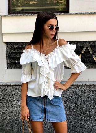 Блузы с рюшами и открытыми плечиками