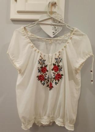 Белая хлопковая блуза вышиванка р.м