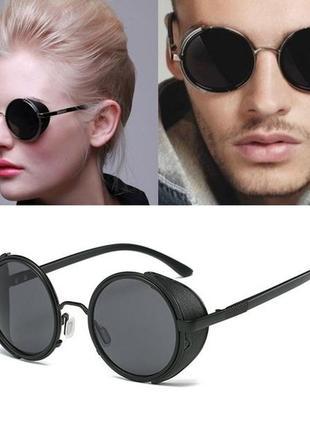 Качественные круглые солнцезащитные очки черные имиджевые ретро тренд сонцезахисні окуляри