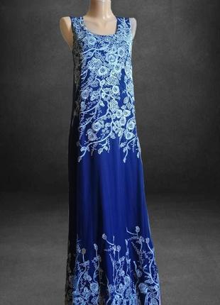 Синее платье , вышивка цветы