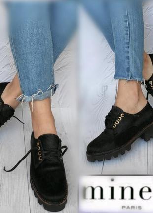 37р кожа+шерсть новые  франция andre броги,туфли со шнуровкой