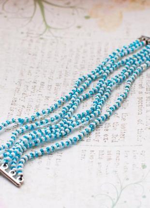 Нежный браслет из чешск бисера ручн раб голуб бел сереб лето