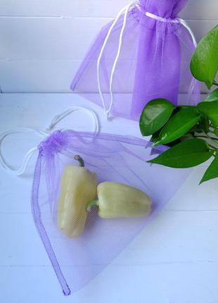 Эко мешочек из сетки ассорти, многоразовый мешок, фруктовка, сереневый