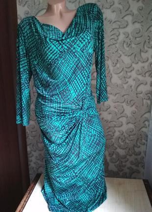 Женское платье трикотаж бирюзовый цвет1 фото