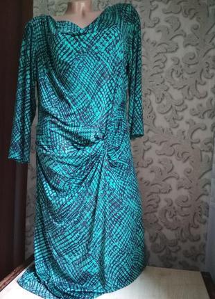 Женское платье трикотаж бирюзовый цвет2 фото