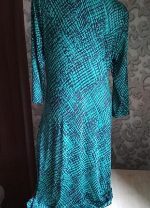 Женское платье трикотаж бирюзовый цвет4 фото