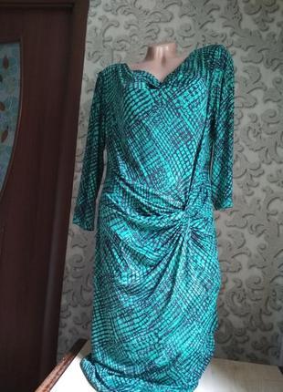 Женское платье трикотаж бирюзовый цвет6 фото