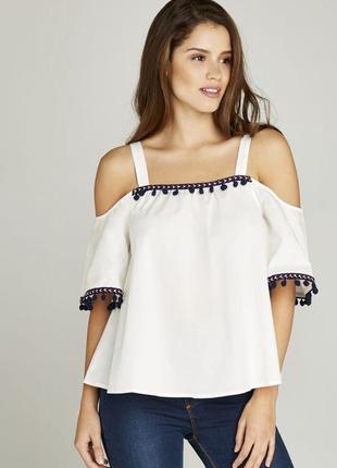Оригинальная блуза на бретелях apricot указано 16(44)eur- xl