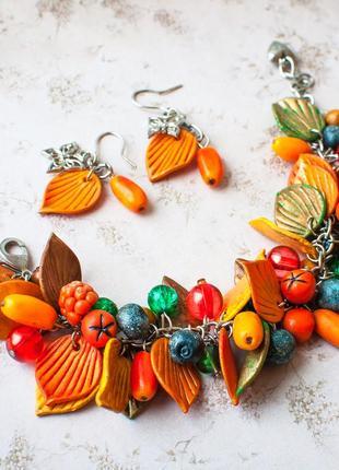 Комплект украш ручн раб ягод лист малин рябин облеп смород черник набор оранж сереб цвет