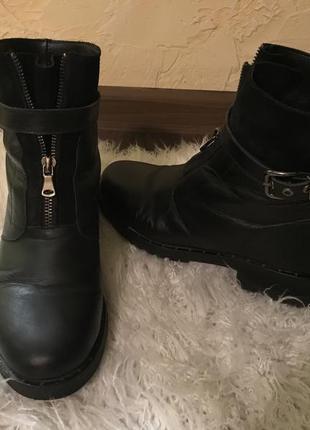 Сапоги ботинки кожа натуральная зима ремешки
