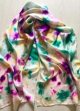 Шелковый шарф ручная роспись 43*131