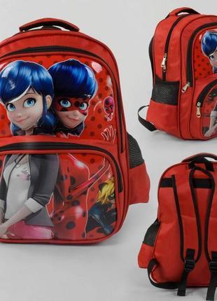 Рюкзак школьный леди баг 3d рисунок, 1 отделение, 2 кармана, мягкая спинка