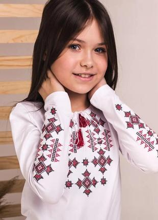Вышитый белый лонгслив на девоччку