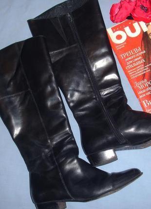 Сапоги женские черные высокие размер 40-41 демисезонные осенние весенние кожаные кожа