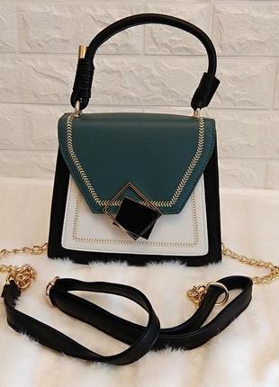 Женская сумка мини с ремешком цепью (черная с зеленым)
