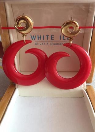 Винтажные серьги кольца красные avon