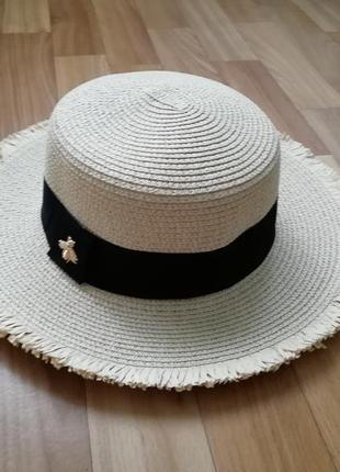 Стильная шляпа канотье беж 56-58 пчела бахрома