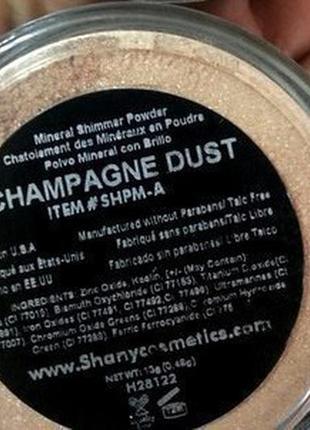 Пудра для лица рассыпчатая минеральная shany mineral shimmer powder - champagne dust1