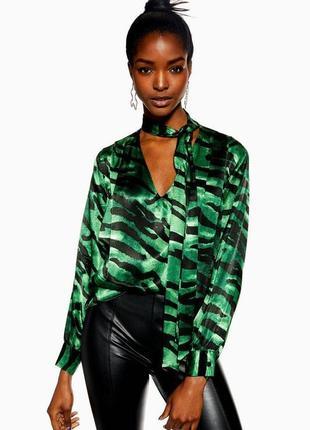 Эффектная сатиновая  блуза свободного кроя с бантомtopshop