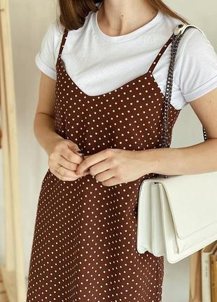 Платье-комбинация в горошек