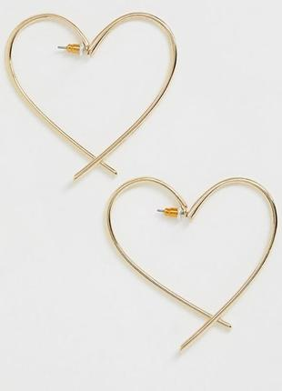 Сережки серце, серьги сердечки гвоздики от asos