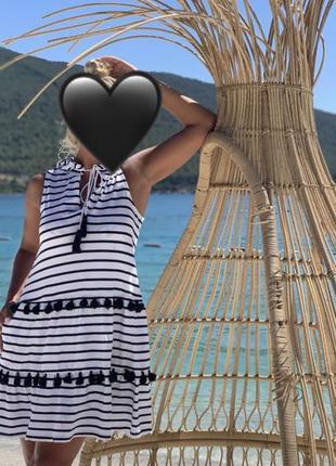 Платье пляжная туника сарафан в полоску next