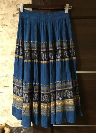 Натуральная ярусная юбка в стиле блох,вискоза,принт!!