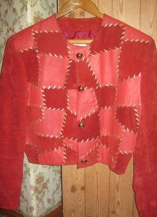 Женская яркая гламурная замшевая,кожаная куртка-ветровка-пиджак 100%нат.кожа+100%нат.замша