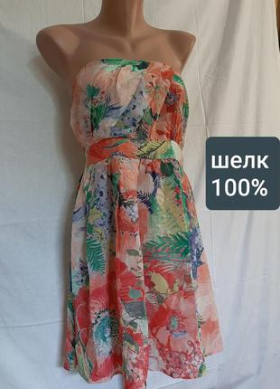Шелковое платье цветы шелк 100% warehouse