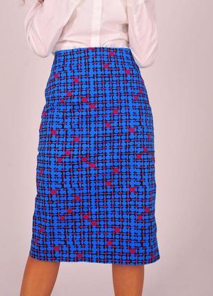 Яркая юбка карандаш samantha sung синяя розовая женская миди дизайнер премиум бренд