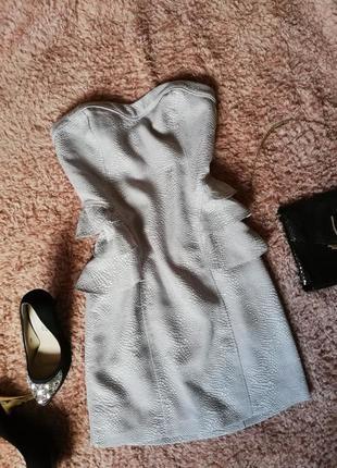 Серебристое мини платье бюстье