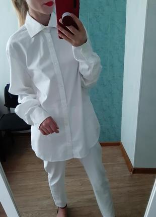 Хлопковая белая, біла рубашка, сорочка оверсайз с мужского плеча