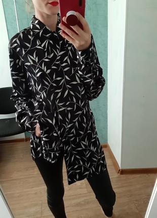 Удлиненная рубашка, блуза прямого кроя