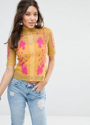 Прозрачная блуза футболка топ с вышивкой кружевом цветами
