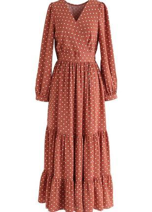 Ідеальна сукня maxi в горошок на запах