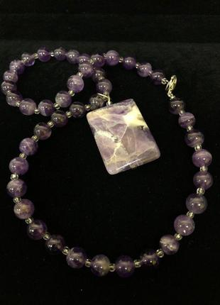 """Колье """"фиолетовый шелк""""  натуральный камень чароит"""