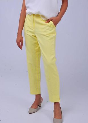 Брюки штаны лимонного цвета jaeger желтые неоновые повседневные джинсы капри женские