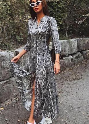 Платье рубашка змеиный принт