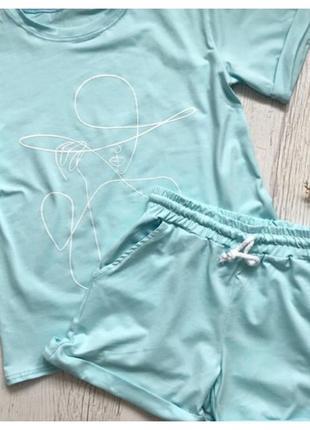 Костюм двойка футболка шорты двунитка