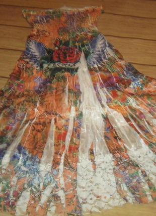 Гламурное платье- сарафан в тиле ed hardy. колондировнаие, жатая с принтом ткань+кружево. xs-s до м.