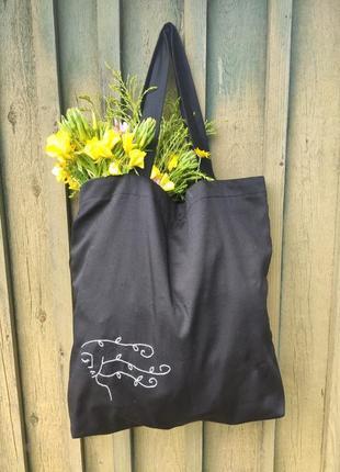Экосумка с вышивкой ручной работы, шопер, сумка для покупок