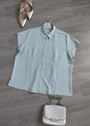 Блуза в нежном бирюзовом цвете на пышные формы