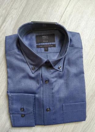 Рубашка мужская marks & spencer длинный рукав сорочка regular размер 41 ворот 16