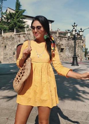 Платье комбинезон с вышивкой zara